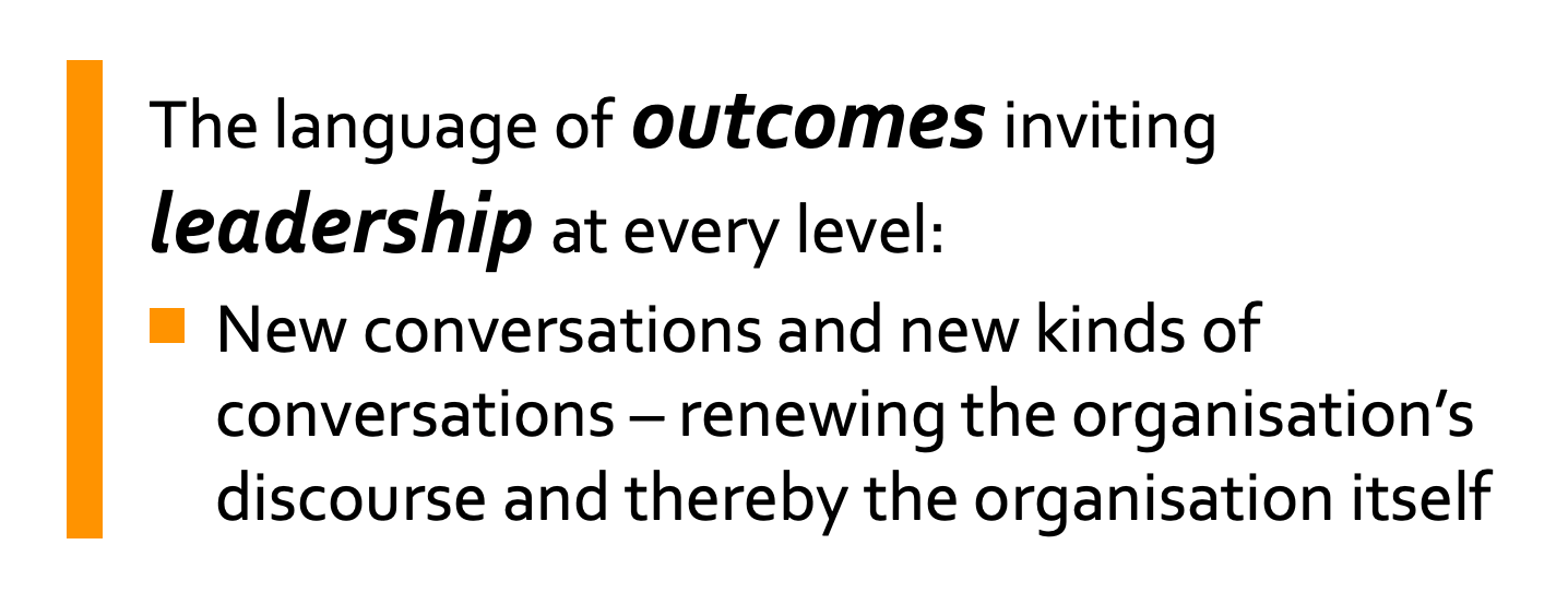 The language of outcomes inviting leadership at every level: New conversations and new kinds of conversations – renewing the organisation's discourse and thereby the organisation itself